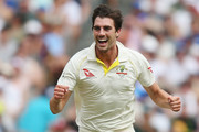 Pat Cummins of Australia celebrates the wicket of Chris Woakes of England during day three of the Fourth Test Match in the 2017/18 Ashes series between Australia and England at Melbourne Cricket Ground on December 28, 2017 in Melbourne, Australia.