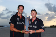 Kevin Pietersen and Paul Collingwood (R) of England pose with the ICC World Twenty20 trophy on the beach after the final of the ICC World Twenty20 between Australia and England at the Kensington Oval on May 16, 2010 in Bridgetown, Barbados.