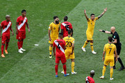 Tim Cahill of Australia confronts referee Sergei Karasev during the 2018 FIFA World Cup Russia group C match between Australia and Peru at Fisht Stadium on June 26, 2018 in Sochi, Russia.