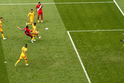 Paolo Guerrero of Peru beats Mark Milligan of Australia to the ball to score his sides second goal during the 2018 FIFA World Cup Russia group C match between Australia and Peru at Fisht Stadium on June 26, 2018 in Sochi, Russia.