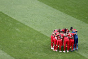 The Peru team form a team huddle prior to the 2018 FIFA World Cup Russia group C match between Australia and Peru at Fisht Stadium on June 26, 2018 in Sochi, Russia.
