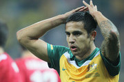 Tim Cahill of Australia reacts during the 2010 FIFA World Cup South Africa Group D match between Australia and Serbia at Mbombela Stadium on June 23, 2010 in Nelspruit, South Africa.