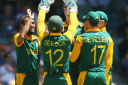 Imran Tahir of South Africa celebrates after dismissing Shane Watson of Australia during game one of the men's one day international series between Australia and South Africa at WACA on November 14, 2014 in Perth, Australia.