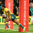Kurtley Beale Photos - Kurtley Beale of the Wallabies breaks through to score the first try during the International test match between the Australian Wallabies and Ireland at AAMI Park on June 16, 2018 in Melbourne, Australia. - Australia vs. Ireland - 2nd Test