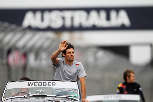 Mark Webber of Australia and Red Bull Racing waves to fans on the drivers parade before the Australian Formula One Grand Prix at the Albert Park Circuit on March 28, 2010 in Melbourne, Australia.