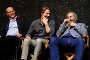"(L-R) Vince Vaughn, Luke Bracey, director Mel Gibson, attend Australians In Film Presents ""Hacksaw Ridge"" Screening and Q&A With Mel cast members at Ahrya Fine Arts Movie Theater on October 21, 2016 in Beverly Hills, California."