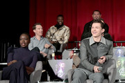 (L-R) Actors Danai Gurira, Benedict Cumberbatch, Winston Duke, Dave Bautista, and Tom Holland attend the Global Press Conference at the Avengers: Infinity War Press Junket in Los Angeles, CA April 22nd, 2018