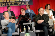 (L-R) Actors Josh Brolin, Mark Ruffalo, Robert Downey Jr., Tom Hiddleston, Director Joe Russo, and actor Zoe Saldana attend the Global Press Conference at the Avengers: Infinity War Press Junket in Los Angeles, CA April 22nd, 2018