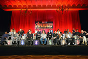 (Top L-R): Actors Winston Duke, Dave Bautista, Don Cheadle, Elizabeth Olsen, Mark Ruffalo, Tom Hiddleston, Sebastian Stan, Anthony Mackie, and Pom Klementieff, (Middle L-R): Actors Benedict Cumberbatch, Chris Pratt, and Scarlett Johansson, President of Marvel Studios and Producer Kevin Feige, actors Robert Downey Jr., Zoe Saldana, Chris Hemsworth, and Letitia Wright, (Bottom L-R): Actors Danai Gurira and Tom Holland, Director Anthony Russo, actor Josh Brolin, Director Joe Russo, and actors Chadwick Boseman and Paul Bettany attend the Global Press Conference at the Avengers: Infinity War Press Junket in Los Angeles, CA April 22nd, 2018