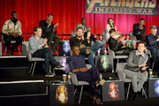 (Top L-R): Actors Winston Duke, Dave Bautista, Don Cheadle, Elizabeth Olsen, and Mark Ruffalo, (Middle L-R): Actors Benedict Cumberbatch, Chris Pratt, and Scarlett Johansson, and President of Marvel Studios and Producer Kevin Feige, (Bottom L-R): Actors Danai Gurira and Tom Holland attend the Global Press Conference at the Avengers: Infinity War Press Junket in Los Angeles, CA April 22nd, 2018