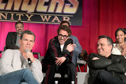 Actors Mark Ruffalo, Josh Brolin, Robert Downey Jr., director Joe Russo, and actor Zoe Saldana attend the Global Press Conference at the Avengers: Infinity War Press Junket in Los Angeles, CA April 22nd, 2018