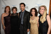 """Actor Dylan McDermott and Heidi Jo Markel pose with Co-Chairs at  the Aviva """"A"""" Gala at the Beverly Wilshire Four Seasons Hotel on May 31, 2014 in Beverly Hills, California."""