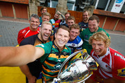 Alistair Hargreaves of Saracens, Geoff Parling of Leicester Tigers,  Will Welch of Newcastle Falcons,  Dean Mumm of Exeter Chiefs,  James Haskell of Wasps, Daniel Braid of Sale Sharks,  Dylan Hartley of Northampton Saints,  Billy Twelvetrees of Gloucester Rugby,  Joe Marler of Harlequins,  Stuart Hooper of Bath Rugby, Tom May of London Welsh pose for a selfie during the Aviva Premiership Rugby 2014-2015 Season Launch at Twickenham Stadium on August 27, 2014 in London, England.
