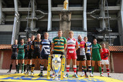 (L-R) Captain Alistair Hargreaves of Saracens, Captain Geoff Parling of Leicester Tigers, Captain Will Welch of Newcastle Falcons, Captain Dean Mumm of Exeter Chiefs, Captain James Haskell of Wasps, Captain Daniel Braid of Sale Sharks, Captain Dylan Hartley of Northampton Saints, Captain Billy Twelvetrees of Gloucester Rugby, Captain Joe Marler of Harlequins, Captain Stuart Hooper of Bath Rugby, Captain Tom May of London Welsh pose during the Aviva Premiership Rugby 2014-2015 Season Launch at Twickenham Stadium on August 27, 2014 in London, England.