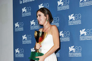 "Actress Hadas Yaron poses with her Coppa Volpi for Best Actress for ""Lemale Et Ha'Chalal""  at the Award Winners Photocall during The 69th Venice Film Festival at the Palazzo del Cinema  on September 8, 2012 in Venice, Italy."