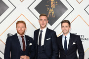 (L-R) Jonny Bairstow, Stuart Broad and Chris Woakes attend the 2018 BBC Sports Personality Of The Year at The Vox Conference Centre on December 16, 2018 in Birmingham, England.