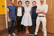 (L-R)  Singer/actor Adam Levine, actor Mark Ruffalo, actress Keira Knightley, and writer/director John Carney attend the 'Begin Again' press conference at Crosby Street Hotel on June 26, 2014 in New York City.