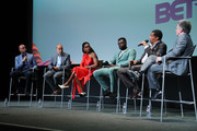 "Kevin Frazier, Jesse Collins, Kelly Rowland, Sinqua Walls, Tony Cornelius and Jonathan Prince speak to the audience during BET's ""American Soul"" Emmy FYC Screening Event on May 23, 2019 in North Hollywood, California."