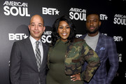 """Scott Mills, President of BET Networks,Kelly Price and Sinqua Walls attend BET's """"American Soul"""" New York Premiere at New World Stages on January 29, 2019 in New York City."""