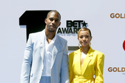 Victor Cruz and Karrueche Tran attend the 2019 BET Awards at Microsoft Theater on June 23, 2019 in Los Angeles, California.