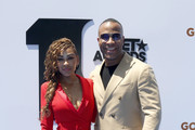 Meagan Good and DeVon Franklin attend the 2019 BET Awards at Microsoft Theater on June 23, 2019 in Los Angeles, California.