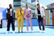 (L-R) Afro B, Karrueche Tran, Terrence J and Rotimi are seen onstage during the Pre Show at the 2019 BET Awards at Microsoft Theater on June 23, 2019 in Los Angeles, California.