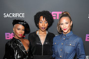 """(L-R) V. Bozeman, Erica Ash and Paula Patton attend BET+ and Footage Film's """"Sacrifice"""" premiere event at Landmark Theatre on December 11, 2019 in Los Angeles, California."""
