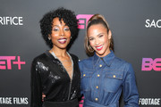 """Erica Ash and Paula Patton attend BET+ and Footage Film's """"Sacrifice"""" premiere event at Landmark Theatre on December 11, 2019 in Los Angeles, California."""