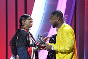 (L-R) H.E.R, Keyshia Cole, and Tank onstage at the 2019 Soul Train Awards presented by BET at the Orleans Arena on November 17, 2019 in Las Vegas, Nevada.