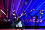(L-R) Sterling K. Brown and Ryan Michelle Bathé  speaks onstage during the 51st NAACP Image Awards, Presented by BET, at Pasadena Civic Auditorium on February 22, 2020 in Pasadena, California.