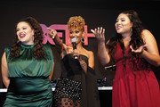 (L-R) Michelle Buteau, Ryan Michelle Bathe and Tracy Oliver speak on stage at the BET+ red carpet and launch party at NeueHouse Los Angeles on September 19, 2019 in Hollywood, California.