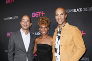 (L-R) BET President Scott Mills, Ryan Michelle Bathe and Mark Tallman attend the BET+ red carpet and launch party at NeueHouse Los Angeles on September 19, 2019 in Hollywood, California.