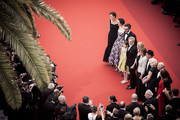 """this image has been retouched with digital filters.) Frank Marshall, Kathleen Kennedy, Kate Capshaw, Steven Spielberg, Ruby Barnhill, Mark Rylance, Claire van Kampen, Lucy Dahl, Penelope Wilton and Jemaine Clement attend the screening of """"The BFG"""" at the annual 69th Cannes Film Festival at Palais des Festivals on May 14, 2016 in Cannes, France."""