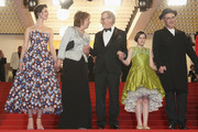 """Rebecca Hall, Penelope Wilton, Steven Spielberg, Ruby Barnhill and Mark Rylance attend """"The BFG"""" premiere during the 69th annual Cannes Film Festival at the Palais des Festivals on May 14, 2016 in Cannes, France."""