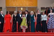 """(FromL) US producer Frank Marshall, US producer Kathleen Kennedy, US actress Kate Capshaw, US director Steven Spielberg, US actress Ruby Barnhill, British actor Mark Rylance and his wife British composer Claire van Kampen, British screenwriter Lucy Dahl, British actress Penelope Wilton and British actress Rebecca Hall pose on May 14, 2016 as they arrive for the screening of the film """"The BFG"""" at the 69th Cannes Film Festival in Cannes, southern France.  / AFP / LOIC VENANCE"""