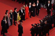 """(3rdR-L) Frank Marshall, Kathleen Kennedy, Kate Capshaw, Steven Spielberg, Ruby Barnhill, Mark Rylance, Claire van Kampen, Lucy Dahl, Penelope Wilton and Jemaine Clement attend """"The BFG (Le Bon Gros Geant - Le BGG)"""" premiere during the 69th annual Cannes Film Festival at the Palais des Festivals on May 14, 2016 in Cannes, France."""