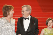 """Penelope Wilton, Steven Spielberg and Ruby Barnhill attend """"The BFG"""" premiere during the 69th annual Cannes Film Festival at the Palais des Festivals on May 14, 2016 in Cannes, France."""