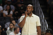 Chauncey Billups of the Killer 3s looks on against the Trilogy during week eight of the BIG3 three on three basketball league at Staples Center on August 13, 2017 in Los Angeles, California.