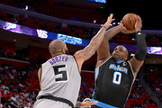 Glen Davis #0 of Power attempts a shot while being guarded by Carlos Boozer #5 of the Ghost Ballers during BIG3 - Week Four at Little Caesars Arena on July 13, 2018 in Detroit, Michigan.