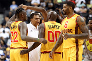 Head coach Reggie Theus of Bivouac  speaks to his team in the game against 3 Headed Monsters during week four of the BIG3 three-on-three basketball league at Barclays Center on July 14, 2019 in the Brooklyn borough of New York City.