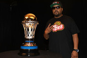 BIG3 co-founder Ice Cube unveils the 24 karat gold 2017 BIG3 Championship trophy, crafted by S. R. BLACKINTON, makers of the Kentucky Derby trophy for over 40 consecutive years, revealed for first time at the BIG3 Playoffs at KeyArena on August 20, 2017 in Seattle, Washington.