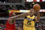 Metta World Peace #15 of the Killer 3s drives to the basket against Al Harrington #3 of Trilogy during week nine of the BIG3 three-on-three basketball league at the American Airlines Center on August 17, 2018 in Dallas, Texas.