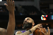Carlos Boozer #5 of the Ghost Ballers drives to the basket against the Ball Hogs during week nine of the BIG3 three-on-three basketball league at the American Airlines Center on August 17, 2018 in Dallas, Texas.