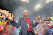 Head coach Julius Erving of the Tri-State is high fived while entering the court in week nine of the BIG3 three-on-three basketball league at KeyArena on August 20, 2017 in Seattle, Washington.