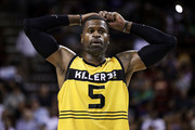 Stephen Jackson #5 of the Killer 3s reacts on the court in the game against the Ball Hogs in week nine of the BIG3 three-on-three basketball league at KeyArena on August 20, 2017 in Seattle, Washington.