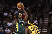 Derrick Byars #4 of the Ball Hogs shoots the ball over Eddie Robinson #32 of the Killer 3s in week nine of the BIG3 three-on-three basketball league at KeyArena on August 20, 2017 in Seattle, Washington.