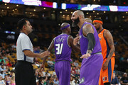 Carlos Boozer #5 of Ghost Ballers reacts to a call against 3's Company during week seven of the BIG3 three on three basketball league at TD Garden on August 3, 2018 in Boston, Massachusetts.