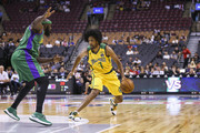 Josh Childress #7 of the Ball Hogs looks for an opening as Reggie Evans #30 of the 3 Headed Monsters guards during the BIG3 three on three basketball league at Scotiabank Arena on July 27, 2018 in Toronto, Canada.