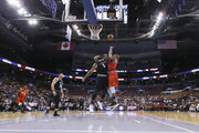 Al Harrington #3 of Trilogy reaches for a rebound against Carlos Boozer #5 of Ghost Ballers during the BIG3 three on three basketball league at Scotiabank Arena on July 27, 2018 in Toronto, Canada.