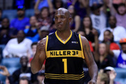 Chauncey Billups #1 of the Killer 3s reacts during the game against Tri-State during week three of the BIG3 three on three basketball league at BOK Center on July 9, 2017 in Tulsa, Oklahoma.